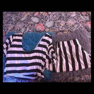 Plus Size Stripe Two Set